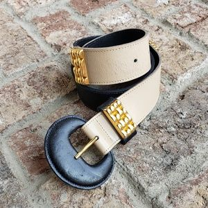 Accessories - Doncaster Colorblock belt black ivory gold SMALL